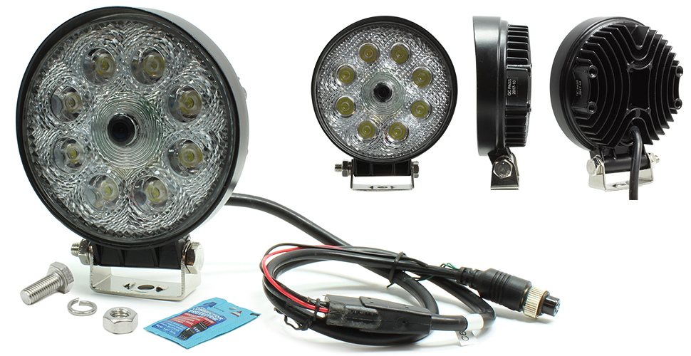 VSM 250-8170HD Round LED Work Lamp with Integrated CMOS Color Camera (no harnesses included)