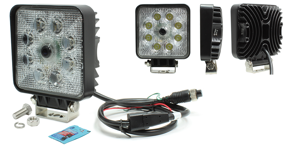 VSM 250-8171HD Square LED Work Lamp with Integrated CMOS Color Camera (no harnesses included)